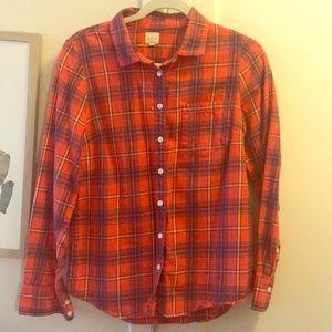 J Crew Size S Orange Flannel Button Down